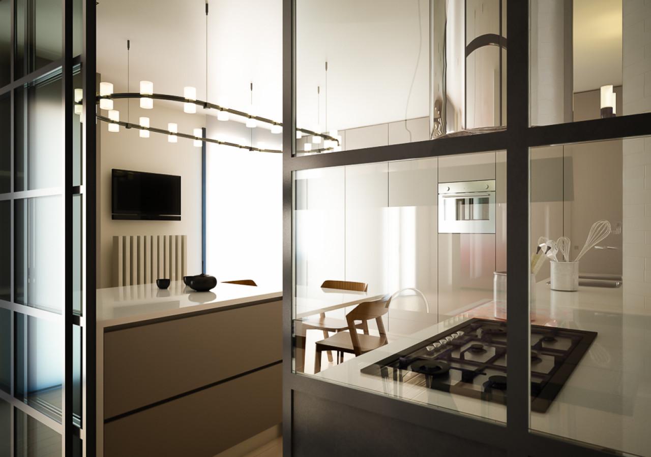 Render di progetto per ristrutturazione cucina su misura a Rimini