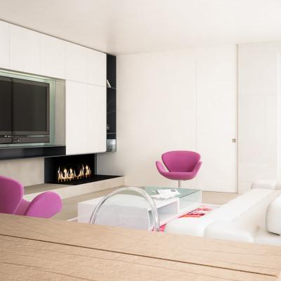 Rendering fotorealistico - sala da pranzo e soggiorno