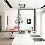 Rendering fotorealistico - isola cucina e zona giorno