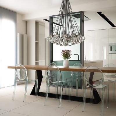 Rendering fotorealistico - vista sala da pranzo e cucina