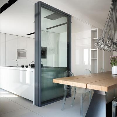 Rendering fotorealistico - vista cucina e sala da pranzo