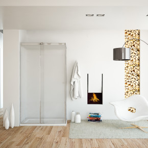 A bathroom with a fireplace