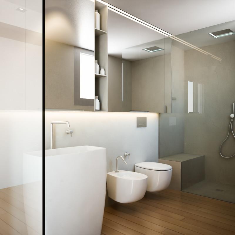 Modellazione e realizzazione di render d'interni per progetto di interior design per una villa a Santarcangelo di Romagna. Vista prospettica di un bagno a servizio della zona notte.