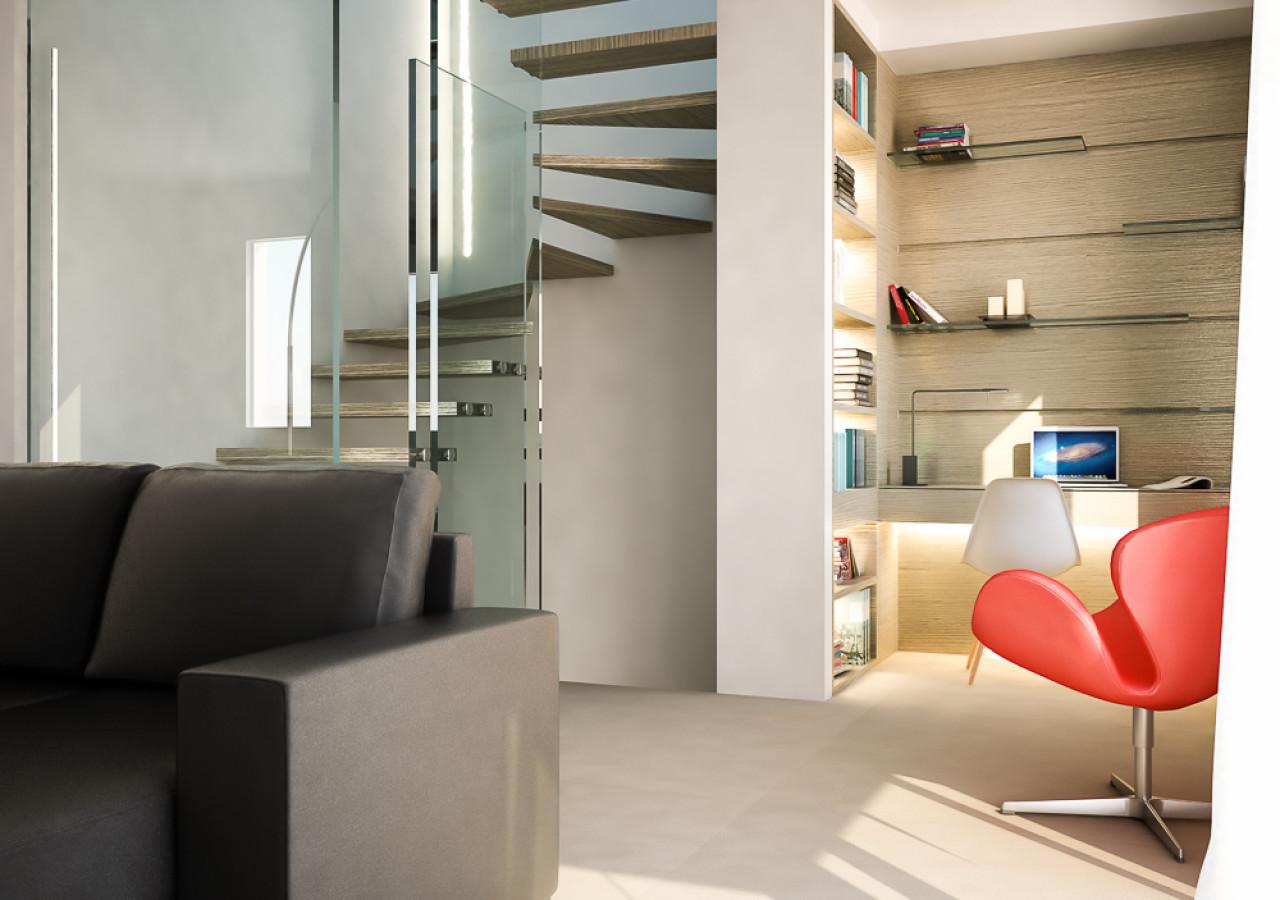 Modellazione 3D dell'arredo su misura e Rendering Fotorealistici del soggiorno, zona libreria e vano scala.