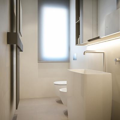 Progettazione, modellazione 3d e render di un bagno per un appartamento a Cesena (FC).