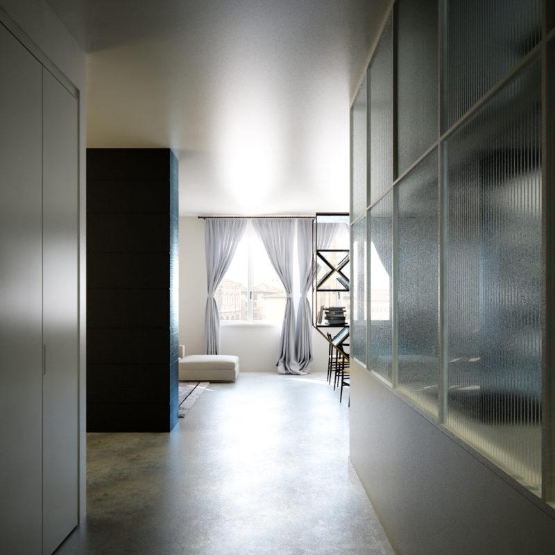 Render di Progetto Ingresso rinnovato appartamento anni '60