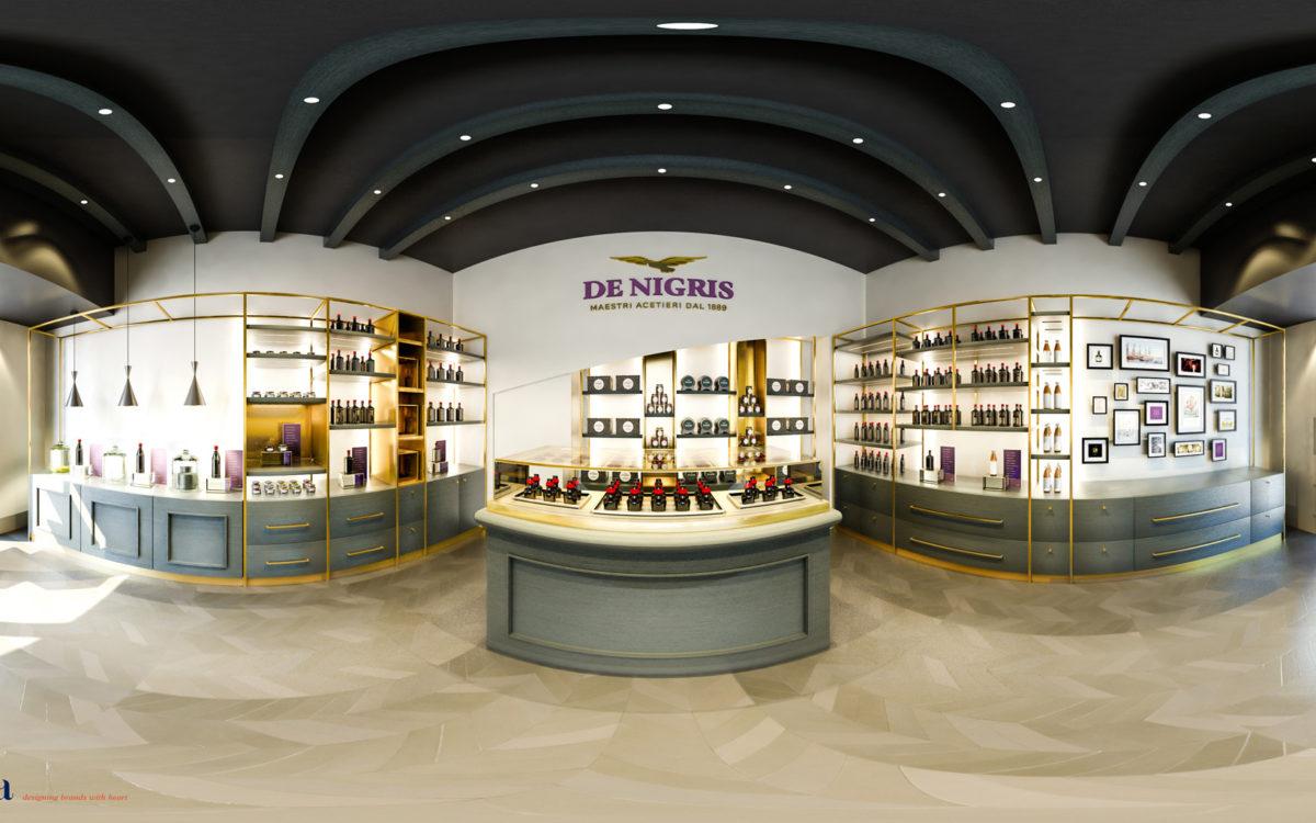 Esempio di render panoramico a 360° per il Rebranding di De Nigris