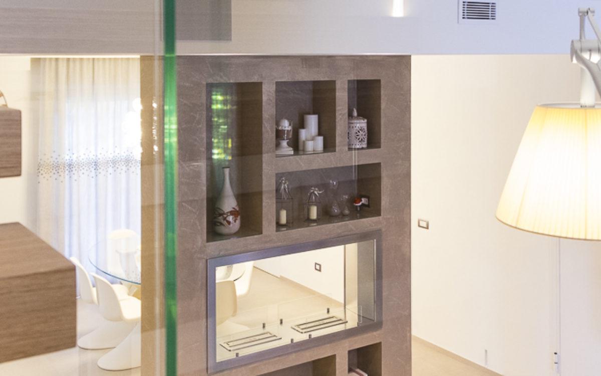 appartamento luxury, biocamino