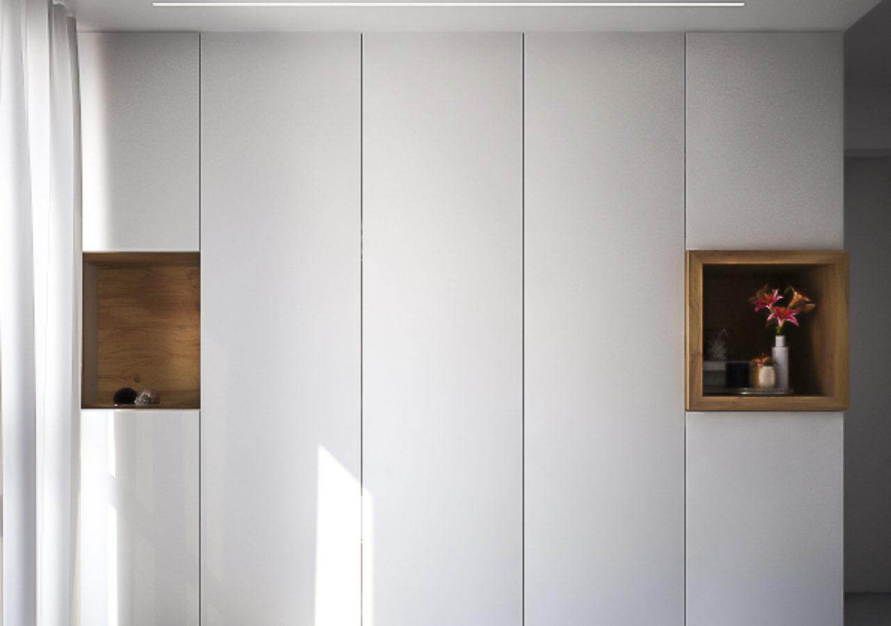 armadio ingresso con nicchie svuota tasche in rovere