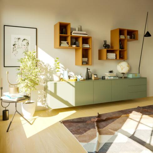 Render - Mobile soggiorno sospeso verde oliva