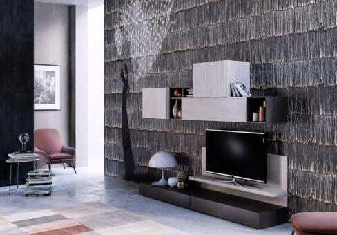 Soggiorno Design - Render per una composizione living per catalogo azienda arredamento.