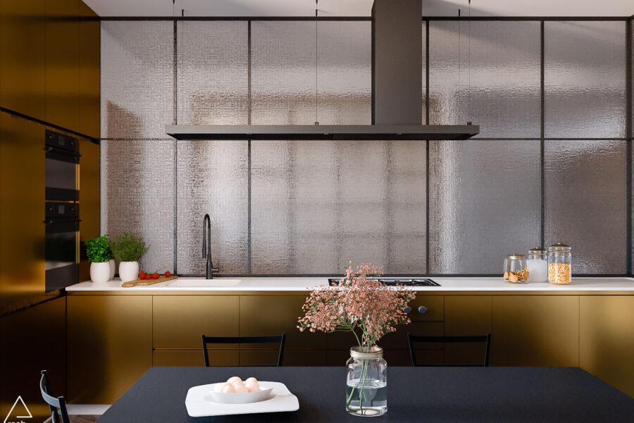 Render Cucina su misura Dorata - Appartamento Rimini